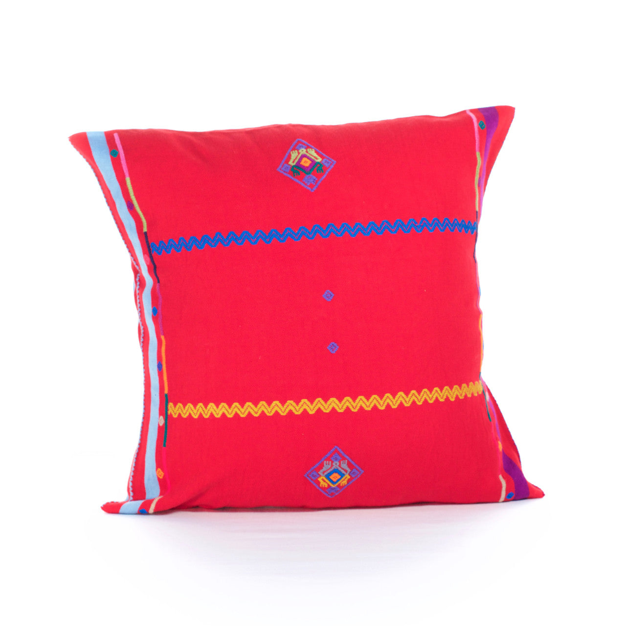 Sapo Cushion - Cielo Collective - Red with Purple & Pale Blue Stripe - 1