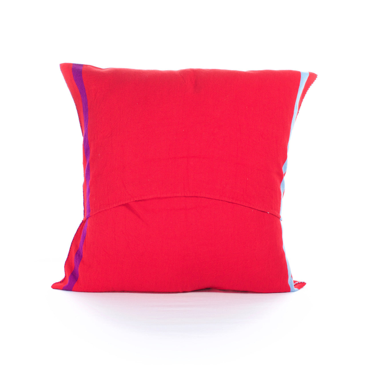 Sapo Cushion - Cielo Collective - Red with Purple & Pale Blue Stripe - 2