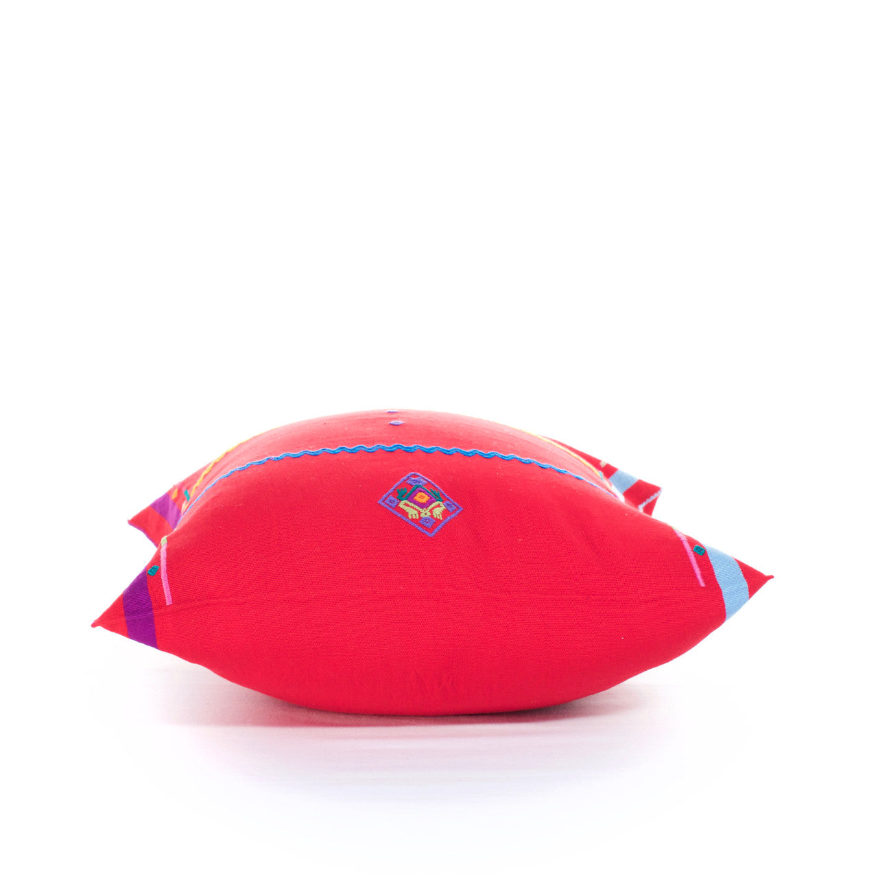Sapo Cushion - Cielo Collective - Red with Purple & Pale Blue Stripe - 3