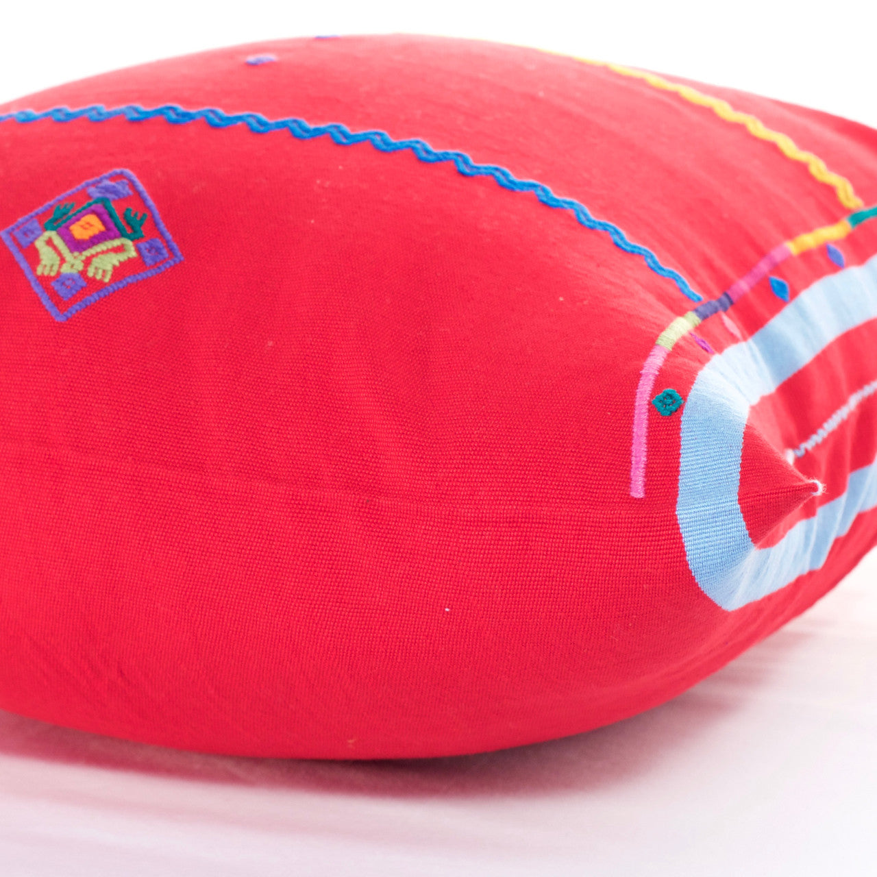 Sapo Cushion - Cielo Collective - Red with Purple & Pale Blue Stripe - 4