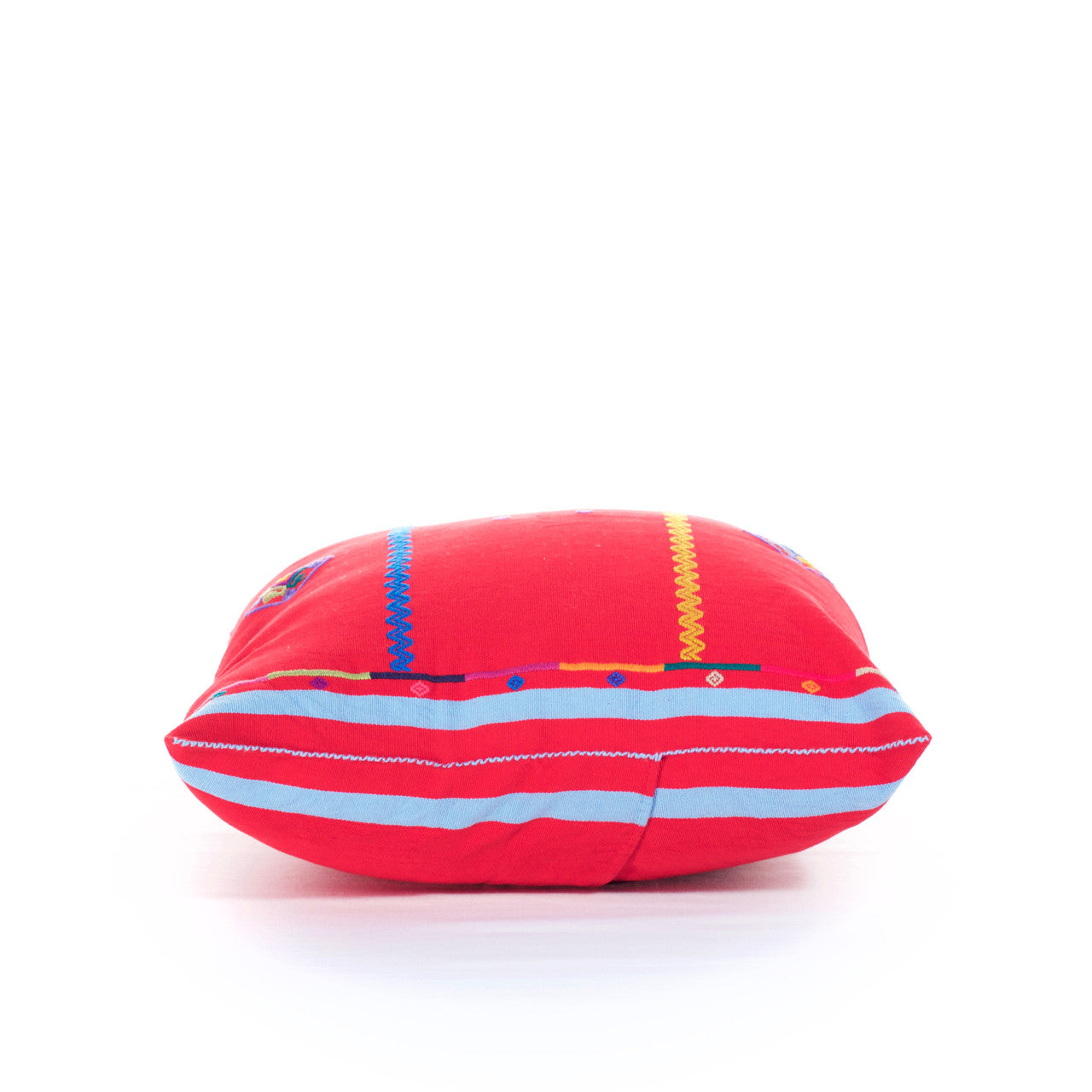Sapo Cushion - Cielo Collective - Red with Purple & Pale Blue Stripe - 5