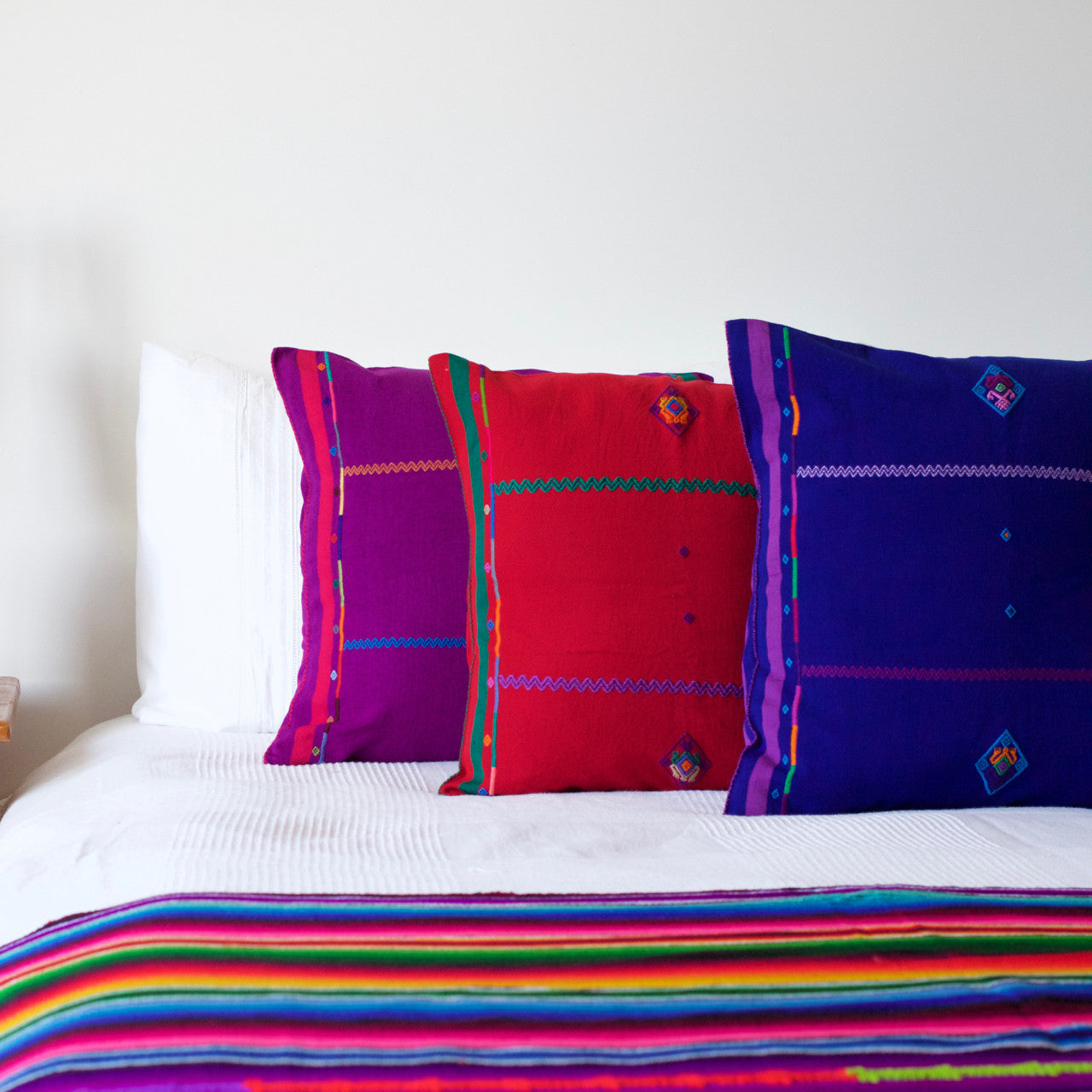 Sapo Cushion 03  Cushion Red with Purple & Green Stripe - Cielo Collective handmade Mexico Guatemala