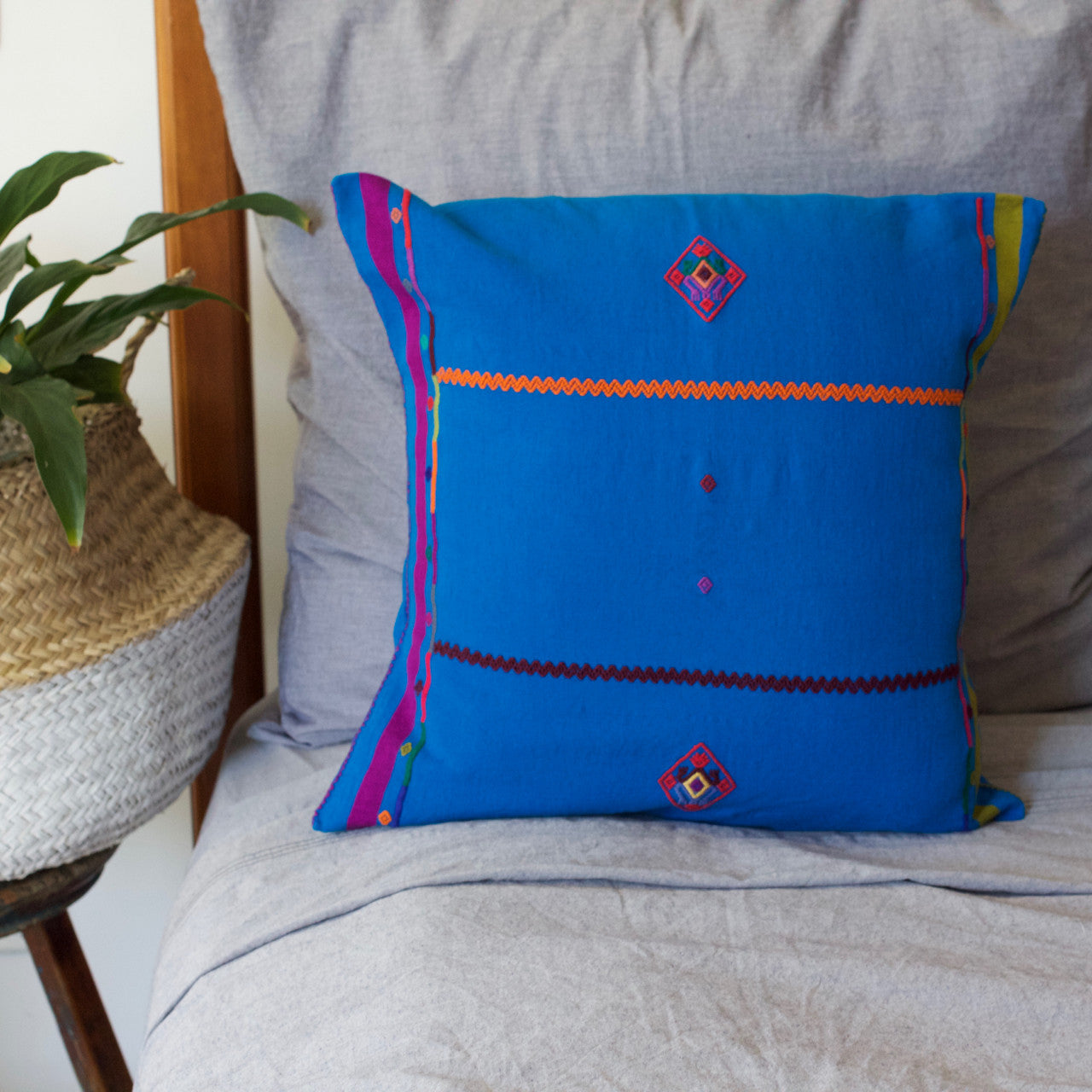 Sapo Cushion 05  Cushion Light Blue - Cielo Collective handmade Mexico Guatemala