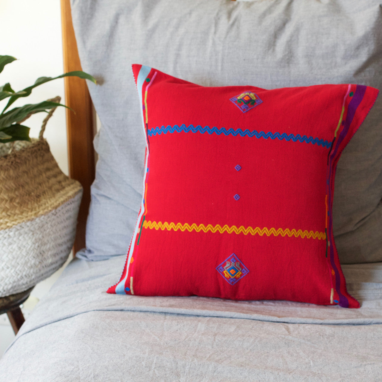 Sapo Cushion 01  Cushion Red with Purple & Pale Blue Stripe - Cielo Collective handmade Mexico Guatemala