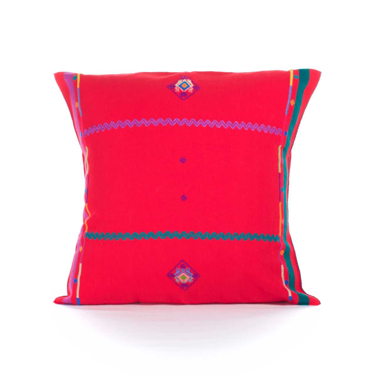 Sapo Cushion - Cielo Collective - Red with Purple & Green Stripe - 1