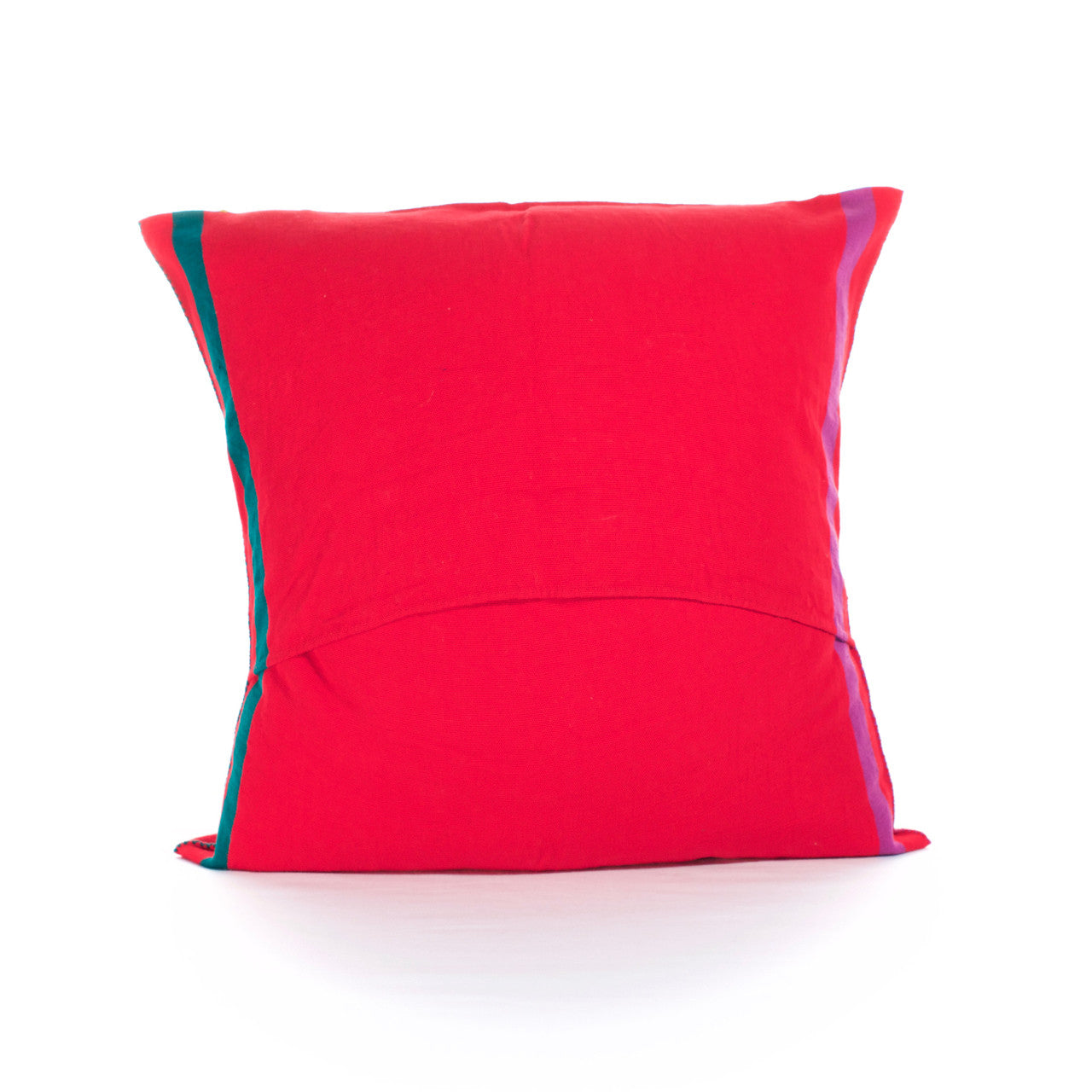 Sapo Cushion - Cielo Collective - Red with Purple & Green Stripe - 2