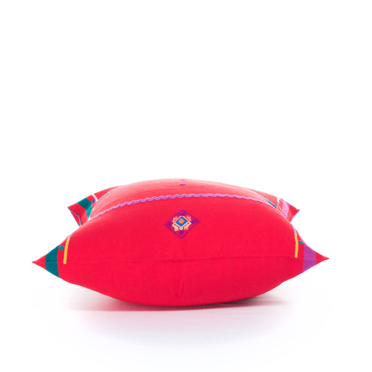 Sapo Cushion - Cielo Collective - Red with Purple & Green Stripe - 3