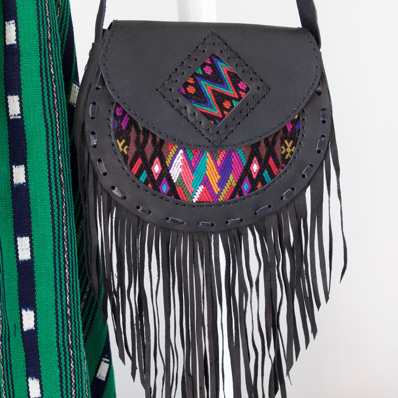 Solola Fringe Bag - Black  Shoulder Bag Multi Zigzag - Cielo Collective handmade with tradition creativity and integrity