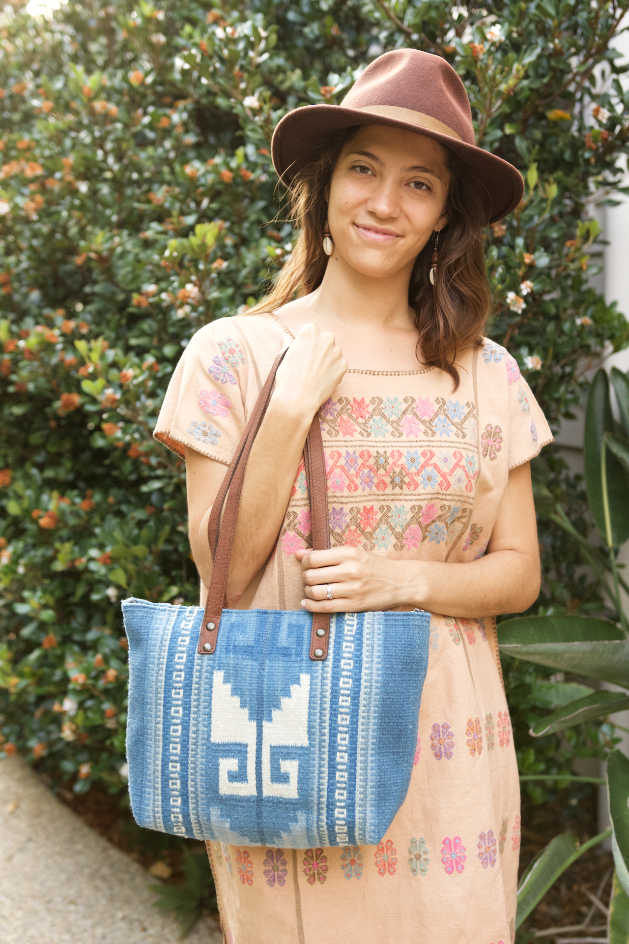 Valle Bag  Shoulder Bag Blue - Cielo Collective handmade Mexico Guatemala