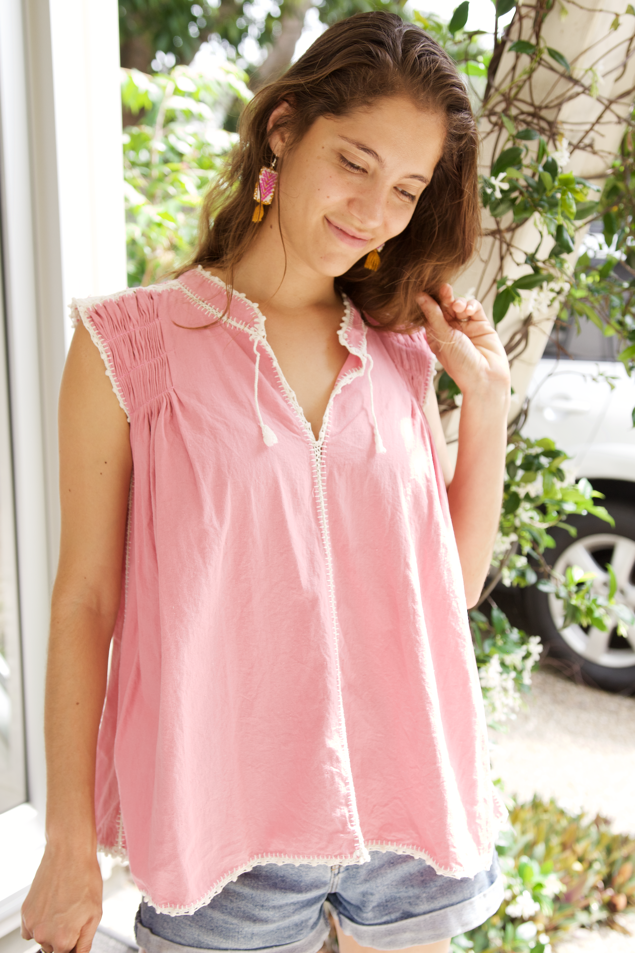 Victoria Blouse  Blouse Pink - Cielo Collective handmade Mexico Guatemala