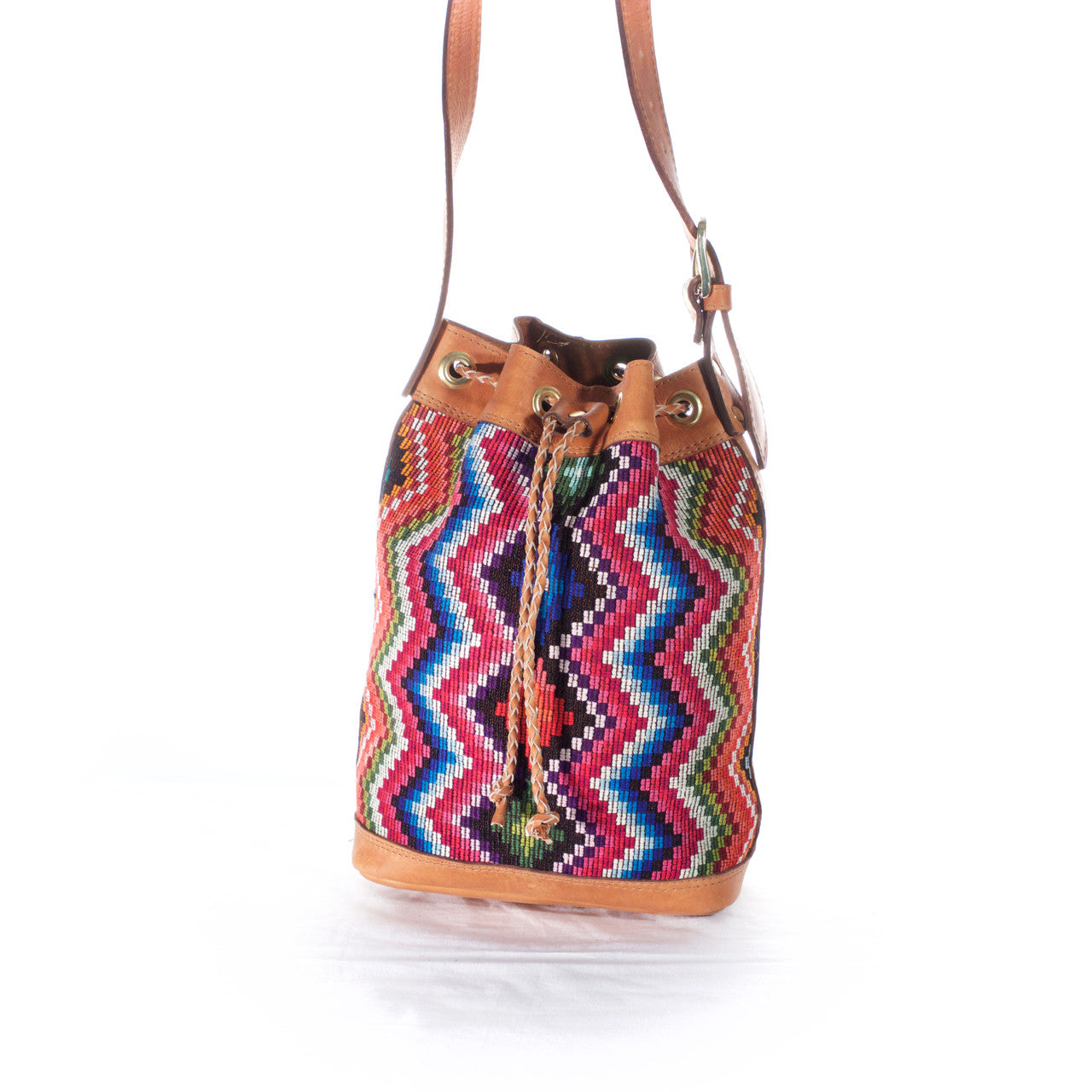 Zorro Bucket Bag  Shoulder Bag Multi Zigzag - Cielo Collective handmade Mexico Guatemala