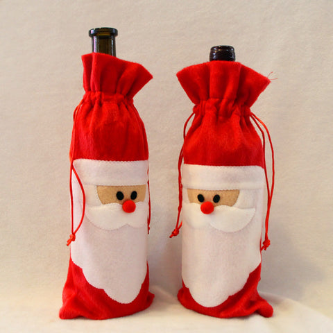 1 Piece Red Santa Clause Wine Bottle Cover Bags