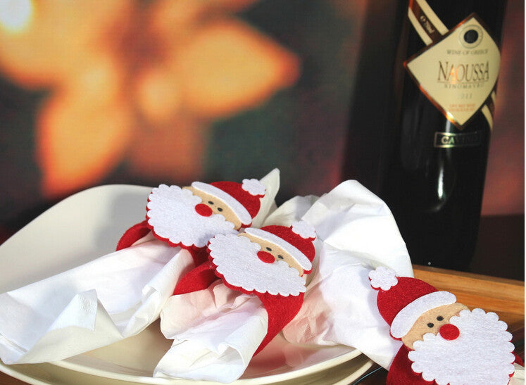12pcs /lot Christmas Santa Napkin Ring Table Decor