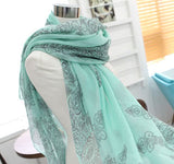 FREE SHIPPING Authum Blue and White Porcelain Style Silk Floss Women Scarf Shawl