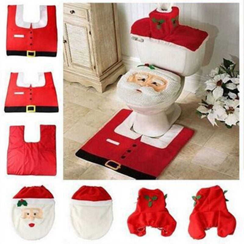 Hot Fancy Santa Toilet Seat Cover and Rug Bathroom Set Christmas Decorations