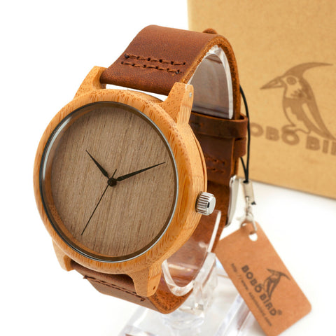 Men's Bamboo Wooden Wristwatches With Genuine Cowhide Leather Band
