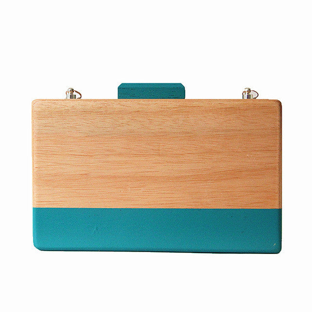 Women Wood Evening Bag Wooden Cute Box Blue Stripe Shoulder Bag