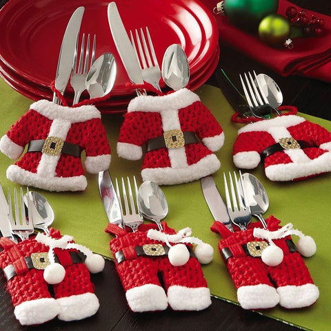 2Pcs/Set Hot Christmas Decorations Santa Cutlery Bags Holder Dinner Party Decor