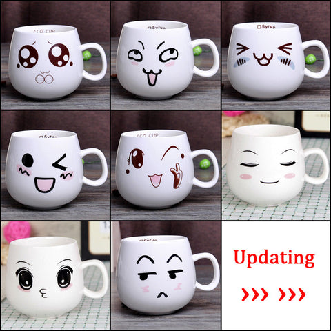 320ml Creative Cute Expression Ceramic Coffee Mug