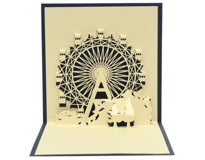 3D Card Pop Up Ferris Wheel Handcrafted Greeting Anniversary/Birthday Card