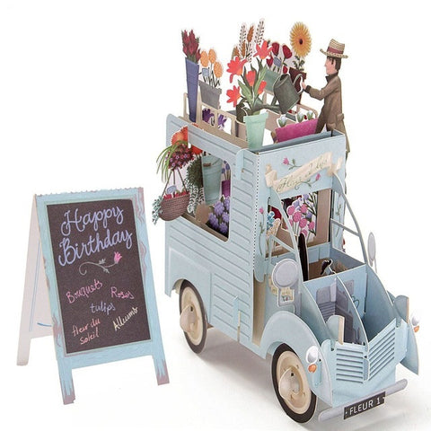 3D Pop Up Car of Flower Greeting Cards Happy Birthday