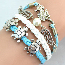 FREE SHIPPING Animal Bracelet Sea Turtle Leather Bracelet Rope Chain