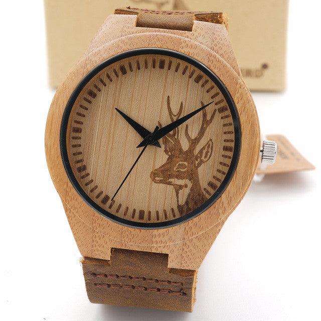 Bobo Bird Deer Bamboo Wood Men Watch with Leather Band in Wood Box