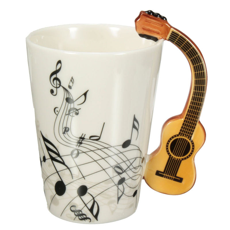 Novelty Guitar Ceramic Cup Personality Music Note Mug Coffee Tea Cup Water Bottle Unique Gift Home Cafe 220ml