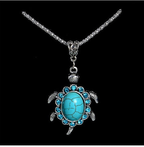 Free Shipping Turquoise Shaped Rhinestone Pendants Women Retro Necklaces