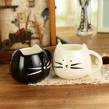 Lovely cat design black and white lovers ceramic cups