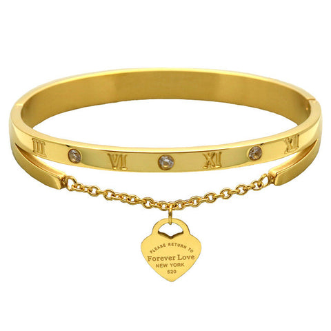 Luxury Stainless Steel, 18K Gold Plated Heart Love Tag Bracelet Jewelry For Women