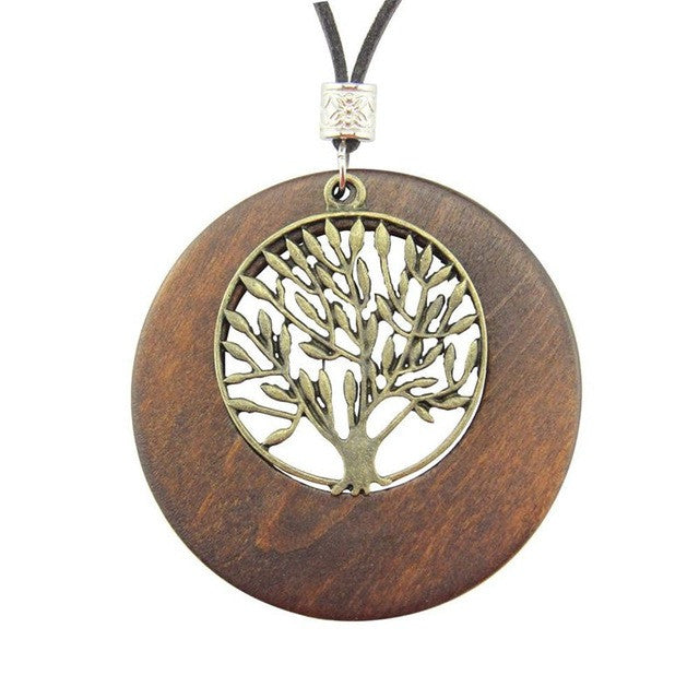 Vintage Fashion Choker Life Tree Wooden Pendant Necklace For Women