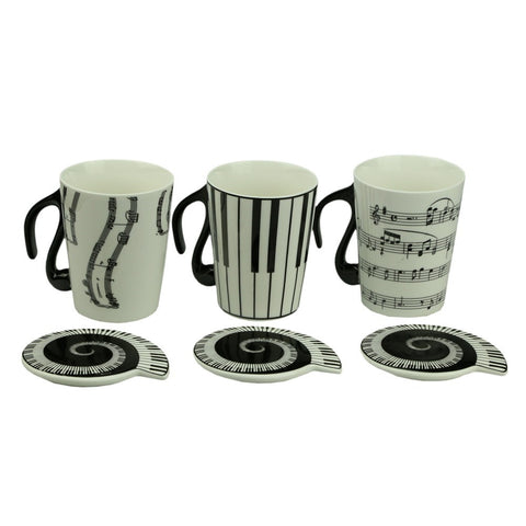 Music Cup Mug Staff Notes Piano Keyboard Ceramic Cup