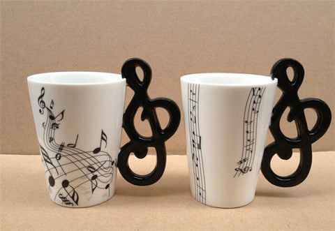 Music Notes Mug Ceramic Tea Cup Coffee Musical Drinkware