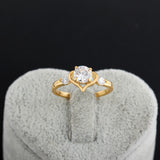 New 2016 18K Gold Plated Brass Love Hollow Heart Ring