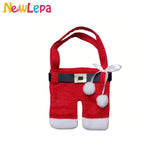 New 6pcs Christmas Decorations Plush Santa Bag Silverware Holders