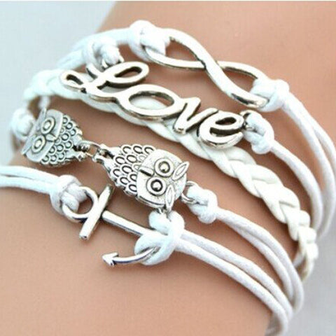 FREE SHIPPING Women Fashion Love Charms Bracelet, Owl Jewelry Gift