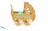Blue Baby Car Kirigami Origami 3D Laser Cut Baby Greeting Cards