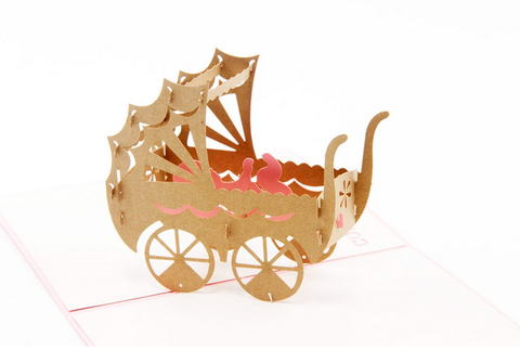 Pink Baby Car Kirigami Origami 3D Laser Cut Baby Greeting Cards