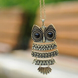 Retro Vintage Bronze Owl Pendant Necklace Women