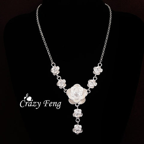 Silver Plated Fashion Jewelry Pendant Flower Chain Necklace