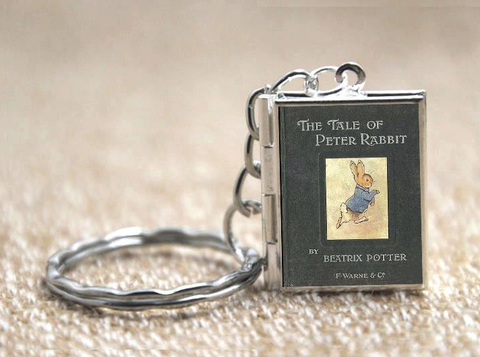 The Tale of Peter Rabbit Book Locket Necklace Silver & Bronze tone