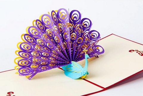 Purple/Blue/Yellow Vintage 3D Pop up Cards Peacock Greeting Card
