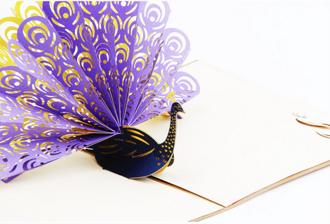 Purple/Yellow/Blue Vintage 3D Pop up Cards Peacock Birthday/Anniversary/Thank You Greeting
