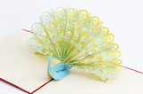 Green/Yellow/Blue  Vintage 3D Pop up Cards Peacock Greeting Card
