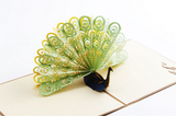 Green/Yellow Vintage 3D Pop up Cards Peacock Greeting Card