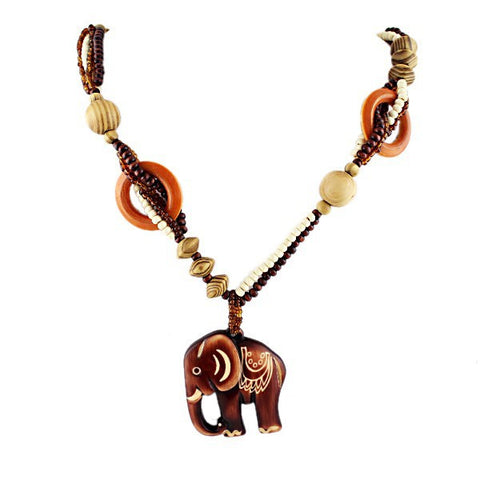 Hand Made Wood Bead Elephant Pendant Necklace For Women