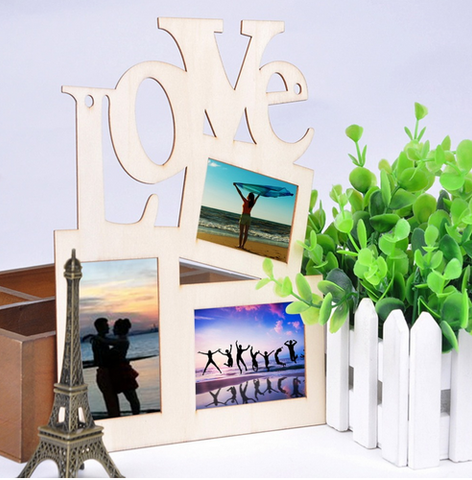 Hollow Love Wooden Family Photo Picture Frame
