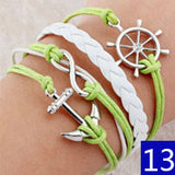 FREE SHIPPING - 15 Designs of Trendy Bird, Love, Anchor, Owl Wrap Leather Bracelet Charm
