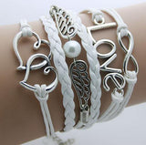 FREE SHIPPING Classic Love, Anchor, Owl, leather Bohemian Charm bracelet, Xmas Gift